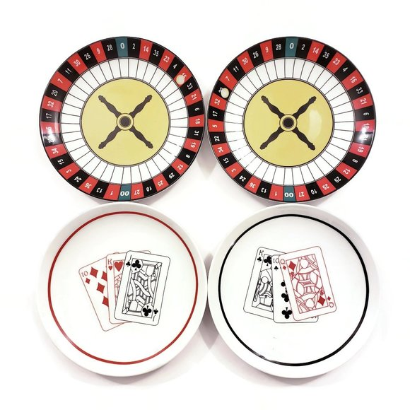 Lot of 4 Vintage Casino Las Vegas Themed Plates